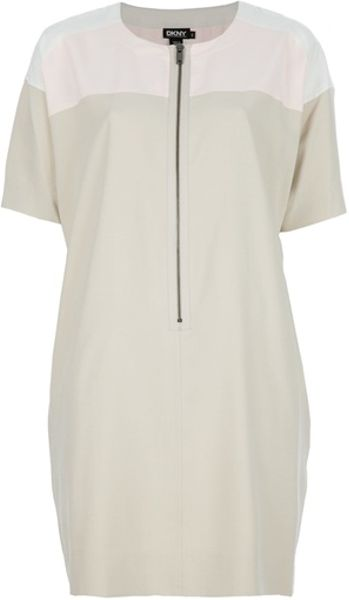 Dkny Zip Fastening Dress in Beige (cream) - Lyst