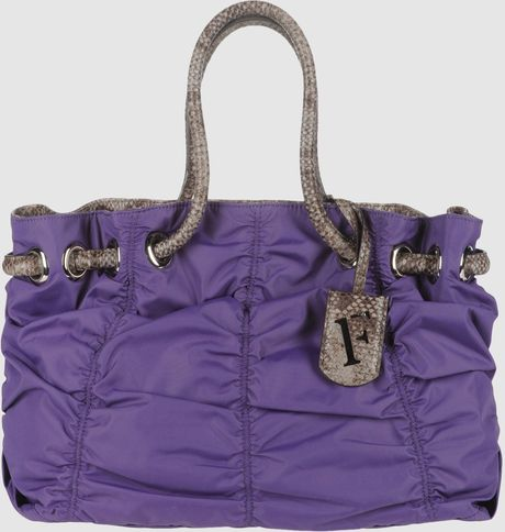 Furla Large Fabric Bag in Purple (grey) - Lyst