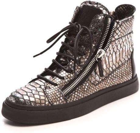 Giuseppe Zanotti Metallic Snake Embossed Sneakers in Silver