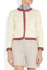 J.crew Sequined Linen Bomber Jacket in Beige (cream) - Lyst