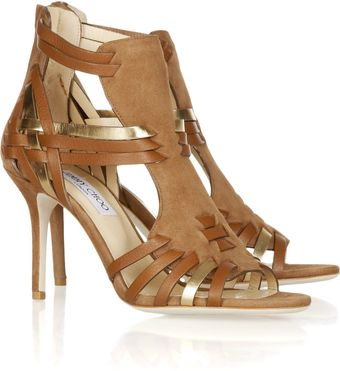 Jimmy Choo Margy Woven Leather And Suede Sandals - Lyst