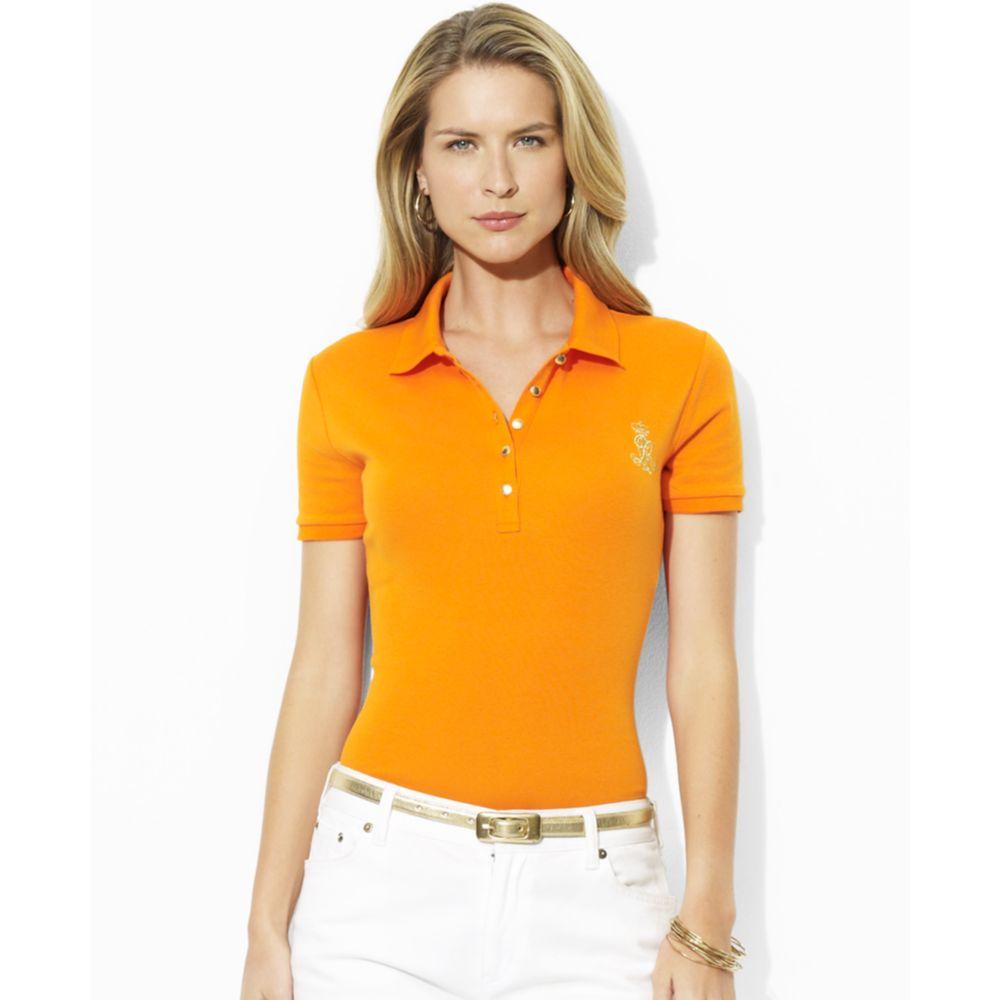 46f785143fb Lauren by Ralph Lauren Jenna Short Sleeve Polo in Orange - Lyst