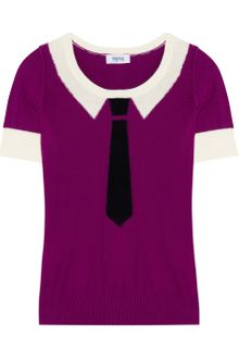 Sonia By Sonia Rykiel Intarsia Cotton and Cashmere-blend Top - Lyst
