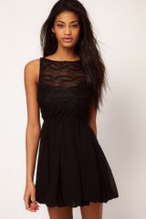 Tfnc Tfnc Skater Dress with Textured Mesh Top - Lyst