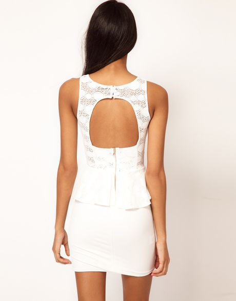 Tfnc Tfnc Dress Lace Peplum with Open Back in White