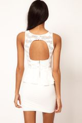 Tfnc Tfnc Dress Lace Peplum with Open Back in White - Lyst