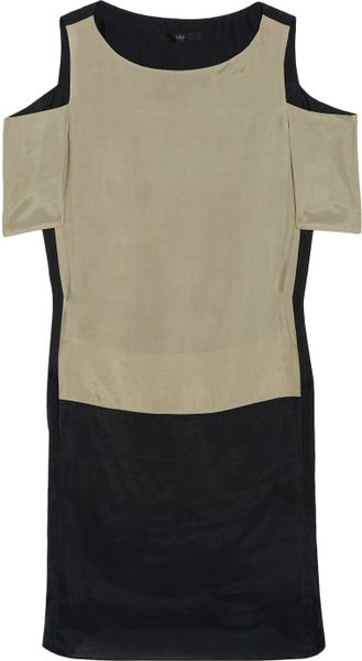 Tibi Colorblock Brushed Silk Dress in Black (sand) - Lyst