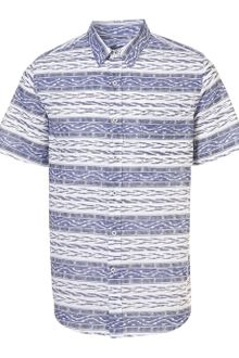Topman Blue Horizontal Ikat Pattern Short Sleeve Shirt - Lyst