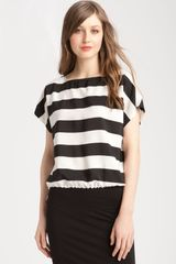 Vince Camuto Stripe Blouse with Drawstring Hem - Lyst