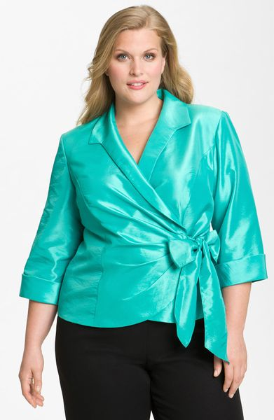 Alex Evenings Wrap Front Organza Blouse in Blue (aqua)