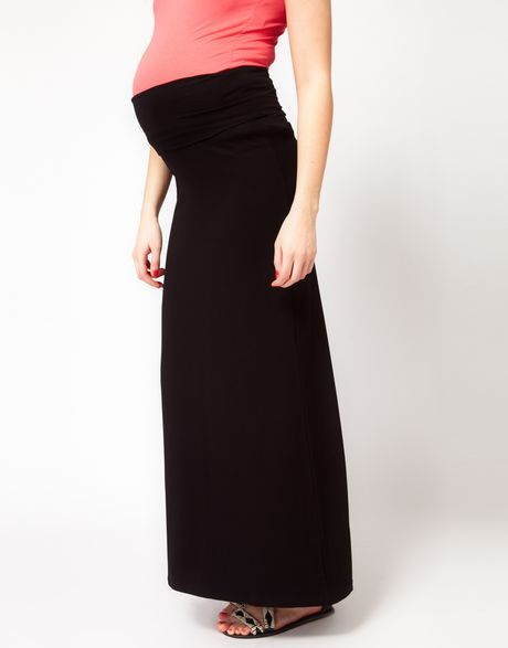 asos asos maternity maxi skirt with foldover in black lyst