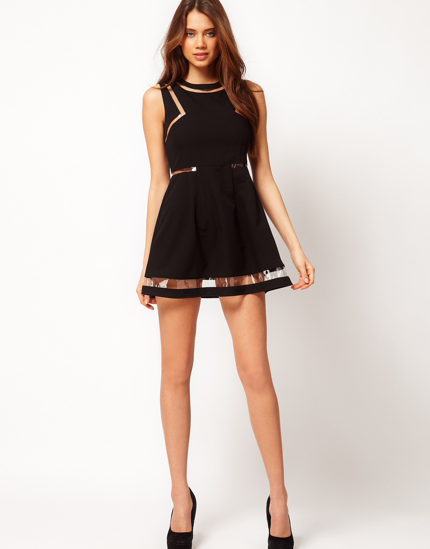 Asos Collection Skater Dress With Plastic Panels In Black