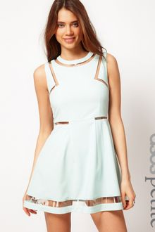 ASOS Collection  Skater Dress with Plastic Panels - Lyst