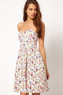 ASOS Collection Strapless Dress in Ditsy Print - Lyst