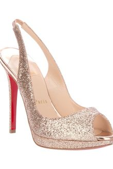 Christian Louboutin Metallic Peep Toe Pumps - Lyst
