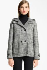 Jil Sander Hooded Wool Blend Coat in Black (black white) - Lyst