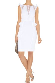 Karen Millen White Cotton Lace Dress - Lyst