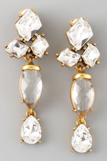 Oscar de la Renta  Crystal Drop Earrings - Lyst