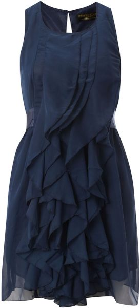 Pussycat Pussycat Sleeveless Ruffle Dress in Blue (navy) - Lyst