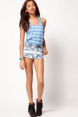 River Island River Island Flag Print Denim Knicker Short - Lyst