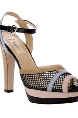 Valentino Peep Toe Sandals in Black - Lyst