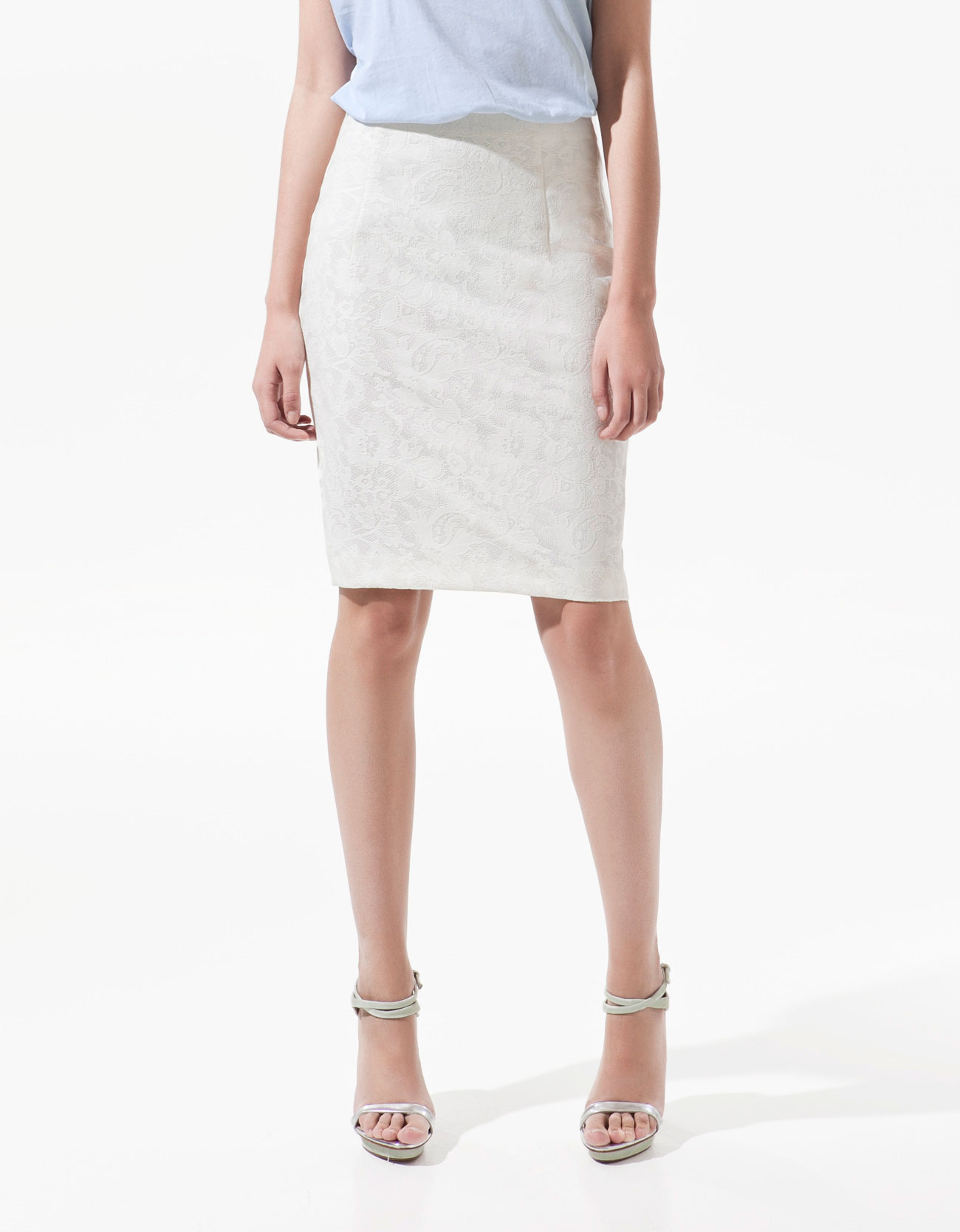 zara lace pencil skirt in beige ecru lyst