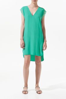 Zara Silk Tunic with Lace At The Sides - Lyst