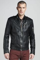 Just Cavalli Leather Biker Jacket - Lyst