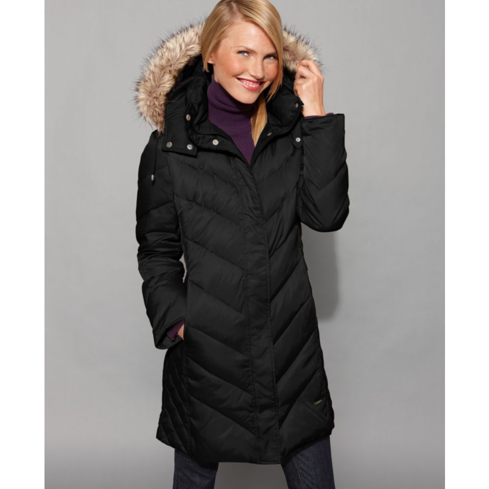 Kenneth cole reaction Faux Fur Hood Chevron Down Coat Puffer in ...