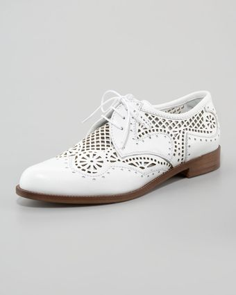 Sergio Rossi Perforated Laceup Oxford - Lyst