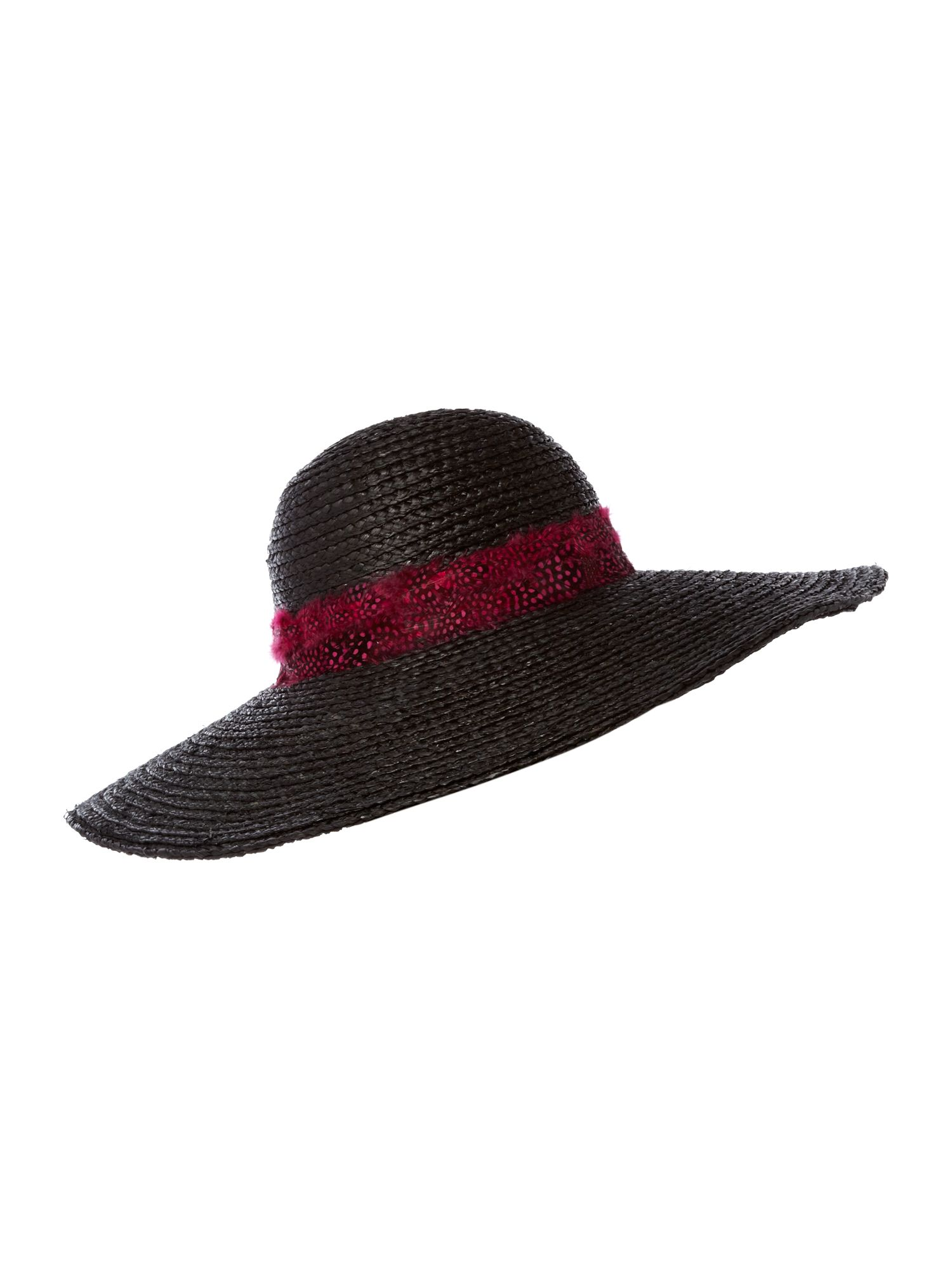 biba oversized floppy hat with feather band in black lyst