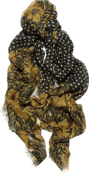 Burberry Prorsum Printed Cashmere and Silkblend Scarf in Black - Lyst