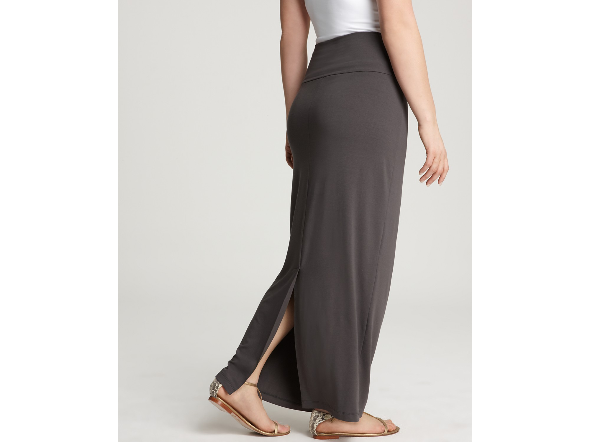 Eileen fisher Plus Size Fold Over Maxi Straight Skirt in Gray | Lyst