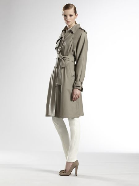Gucci Fango Wool Trench in Green (fango) - Lyst