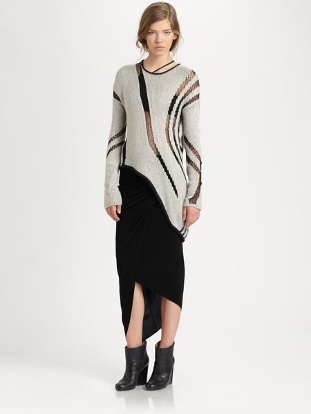 Helmut Lang Helmut Asymmetrical Cutout Sweater in Gray (black) - Lyst