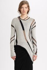 Helmut Lang Helmut Asymmetrical Cutout Sweater in White (black) - Lyst