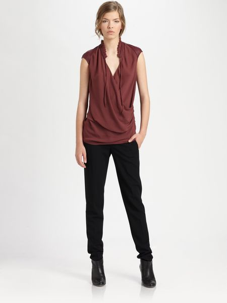 Helmut Lang Gathered Shroud Top in Black - Lyst