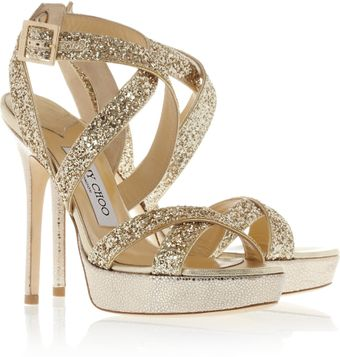 Jimmy Choo Hawk Glittered Leather Platform Sandals - Lyst