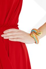 Kenneth Jay Lane 22karat Goldplated Cabochon Caterpillar Bangle in Gold - Lyst