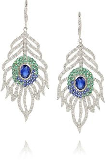 Kenneth Jay Lane Silverplated Crystal Peacock Feather Earrings - Lyst
