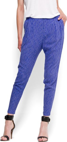 Mango Printed Tapered Trousers in Blue (kl) - Lyst