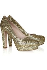Miu Miu Glitterfinish Leather Pumps - Lyst