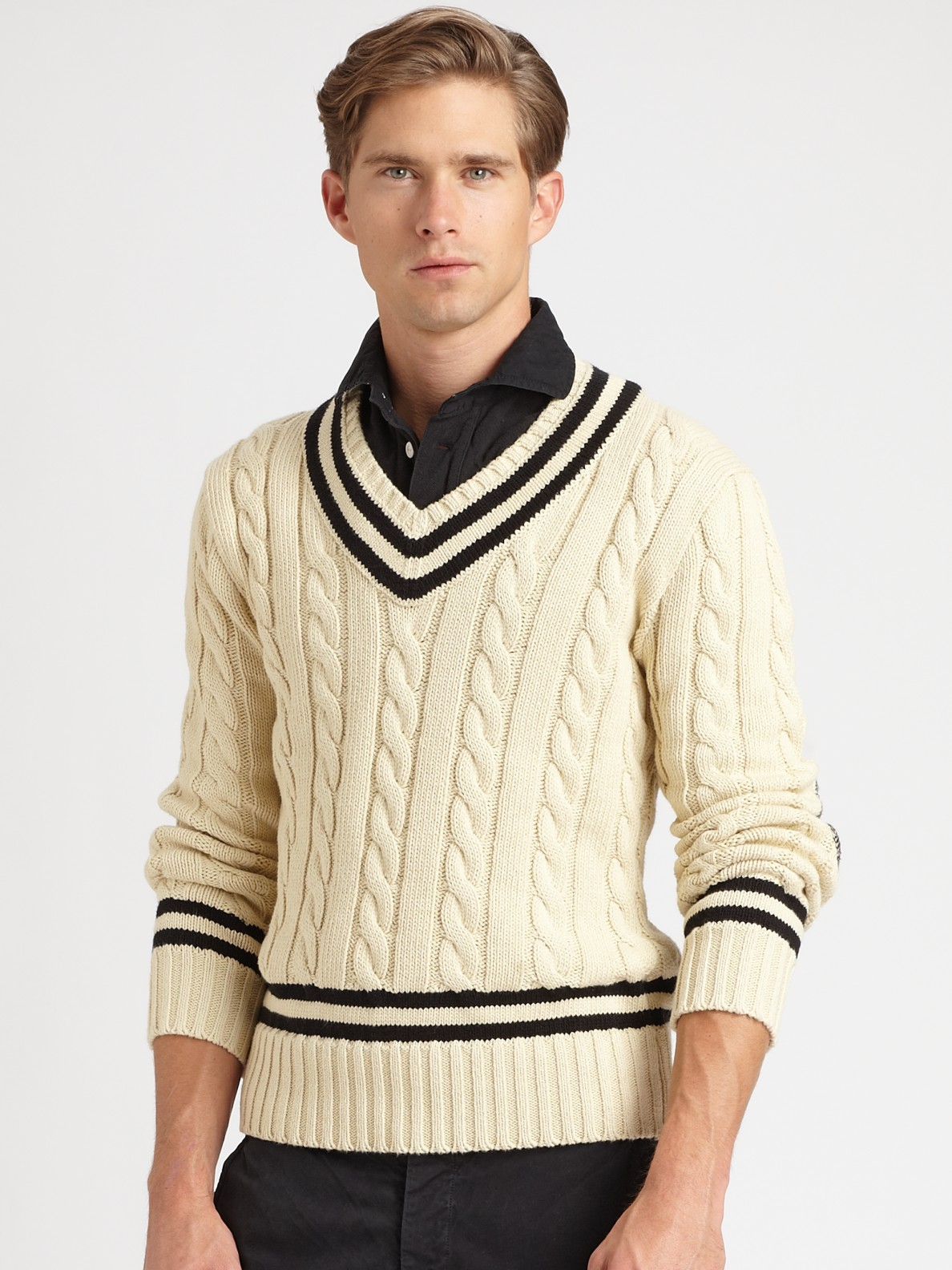 Knitting Pattern For Cricket Sweater : Polo ralph lauren Cabled V-neck Cricket Sweater in Natural for Men Lyst