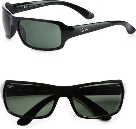 Ray Ban Rectangular Wrap Sunglasses In Black For Men Lyst