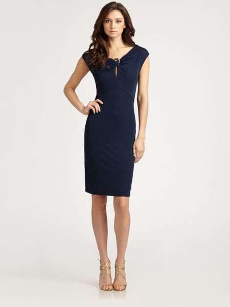 Roberto Cavalli Keyhole Dress in Blue (marine) - Lyst