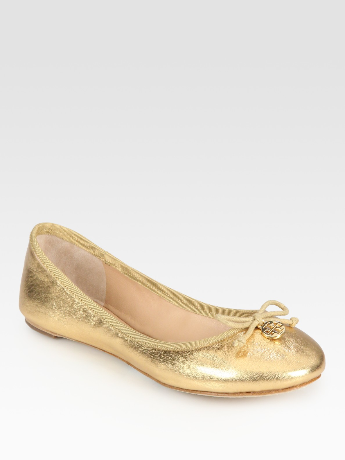 58ac88d788168c ... where can i buy lyst tory burch chelsea metallic leather bow logo  ballet flats in 8303c