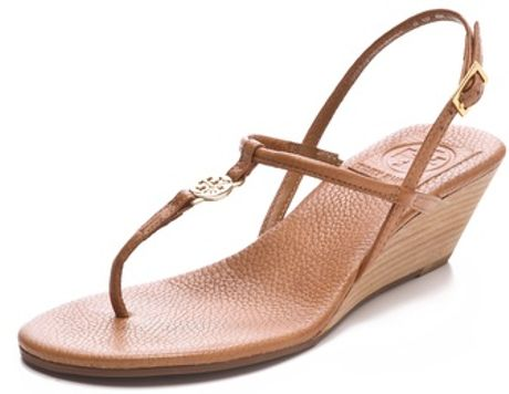 Tory Burch Emmy Wedge Sandals in Brown  tan Tory Burch Emmy Wedge Sandals