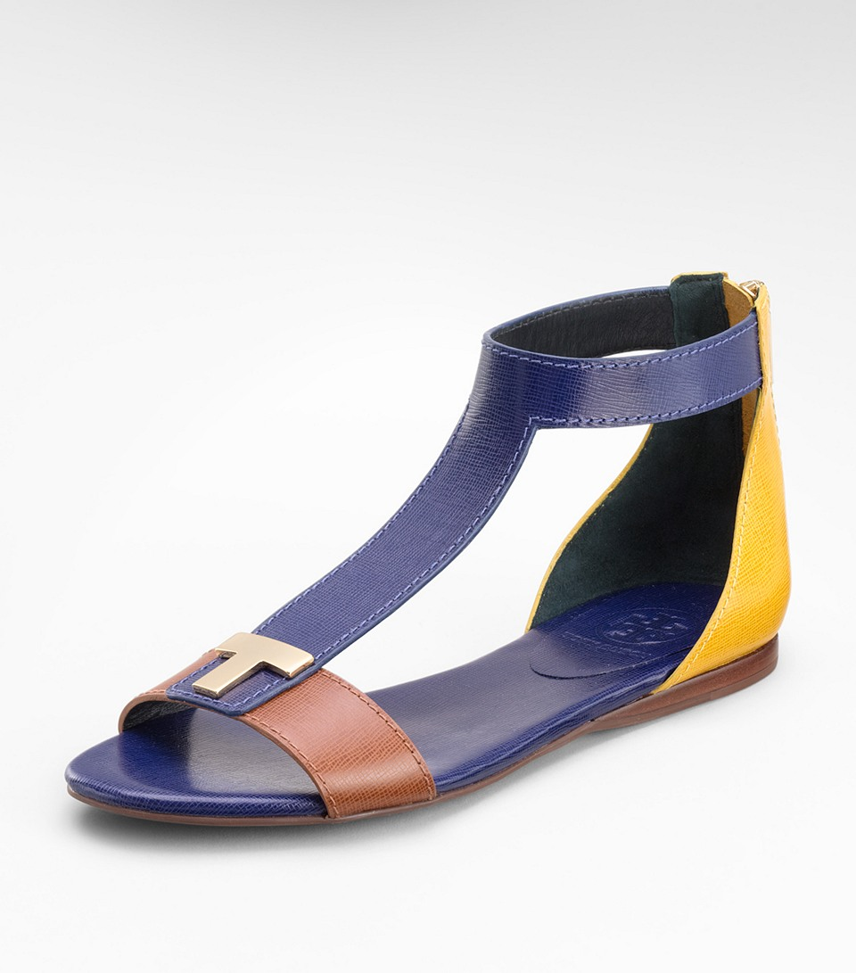 Lyst Tory Burch Casey Flat Sandals In Blue