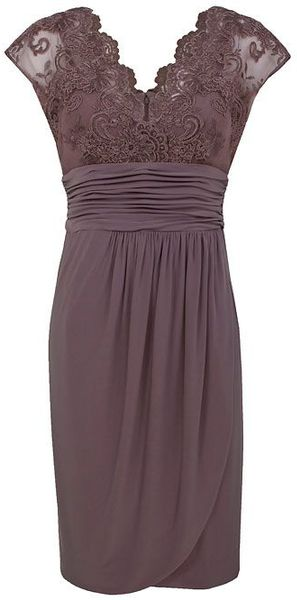 Alexon light brown lace top dress in purple ivory lyst for Brown lace wedding dress