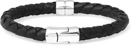 Bottega Veneta Intrecciato Leather and Silver Bracelet in Black for Men (silver) - Lyst